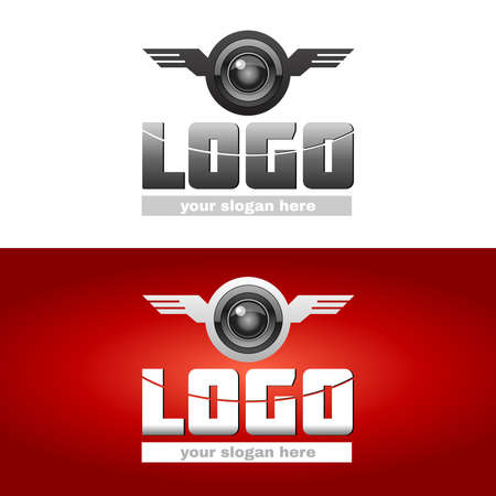 black wigs: Aviation Logotype Sign Template. Logo with Wings, Logo with Propeller. Business Card. Blank Space for Your Company Slogan. Two Designs on White and Red Backdrop. Digital background vector illustration