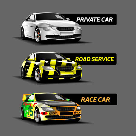 fifteen: Three Types of Cars. White Private Car, Green Race Car Number Fifteen, Yellow and Black Road Service Car. Digital vector 3D illustration. Illustration