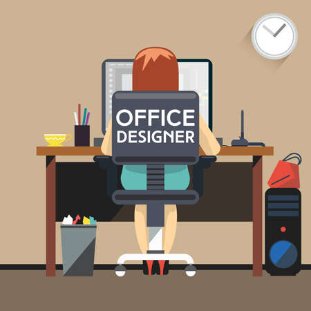 desktop computer: Office Designer Working at Desktop Computer. Woman Designer Working at Office sitting on Chair with Wheels, Back View. Digital background vector illustration.