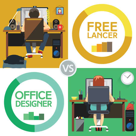 versus: Office Designer Versus Freelancer. Freelancer Working at Desktop Computer from Home sitting on Chair with Wheels Cat sleeping on carpet. Formal versus Informal. Digital background vector illustration.
