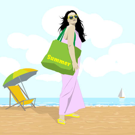 beach bag: Seaside View. Woman in Lilac Dress in Yellow Sunglasses with Green Beach Bag. Beach Chair and Umbrella. Summer Holidays Tourist Tour Leaflet vector illustration. Digital background.