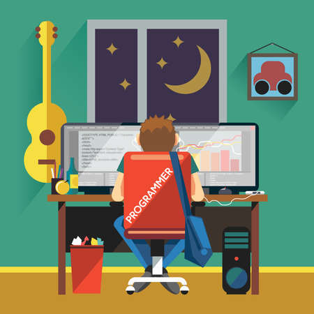 programming code: Programmer Working from Home. Freelancer Working at Night sitting on Chair with Wheels. Programming Code and Diagrams on Two Monitors. Programmer Working at Desktop Computer vector illustration.