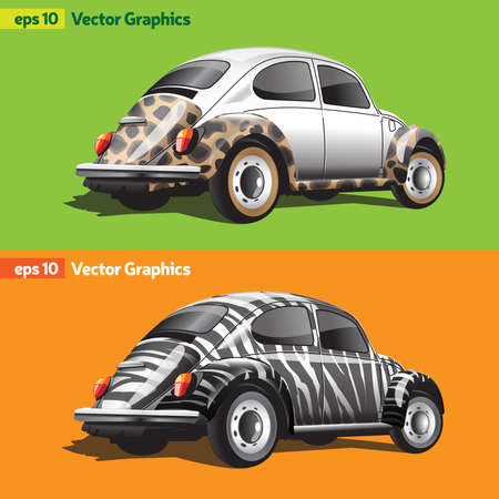 Two Retro Cars Back and Side View Close Up. Private Car with Animal Print. Car Toy Packaging Design. Leopard Print Car Tuning and Zebra Print Wrap. Car Tuning Company Digital Vector Logo.