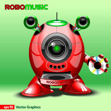 rom: Music Robot with CD Rom, Loudspeakers and Antenna. Red Robot with Legs and Arms holding CD Disc. Digital background vector illustration.