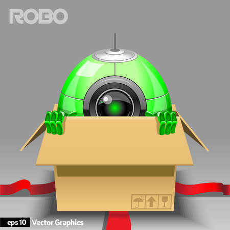 shy: Green Robot in Open Gift Box with Red Ribbon. Robot with emotions, Shy Robot. Digital background vector illustration.