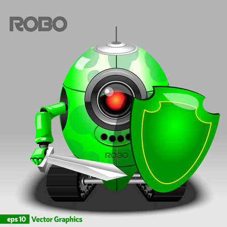 crawler: Robot Warrior with Red Eye Camera holding Shield and Sword. Khaki Robot with Arms and Crawler Tracks. Digital background vector illustration. Illustration
