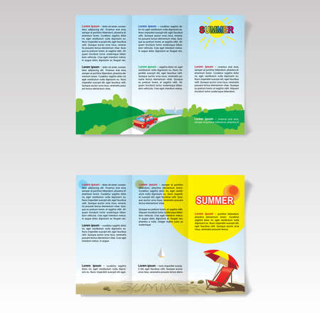 blank space: Travel Agency Booklet. Summer Travel Tour Brochure. Red Car on Road to Sea. Beach Umbrella and Chair on the Beach. Blank Space for Your Text. Digital background vector illustration. Illustration