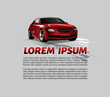 blank space: Private Car vector illustration Front View. Auto Expo Modern Red Car Digital Banner with Blank Space for Your Promotional Text.