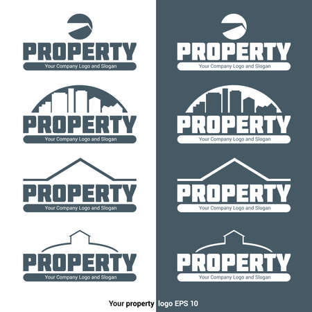 blank space: Property Agency Logotype Template. Real Estate Company Logo with Crane, Buildings and House Silhouette. Business Card Vector Design. Blank Space for Your Company Slogan Illustration