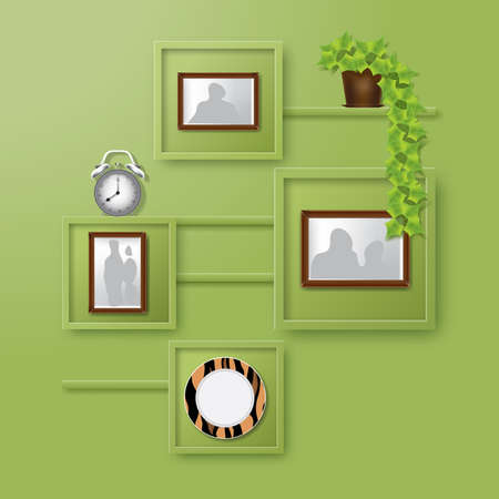 digital clock: Home interior Design. Green Wall with Shelves with Photo Frames of Different Shapes, Alarm Clock and Home Plant in Pot. Digital background vector illustration. Illustration