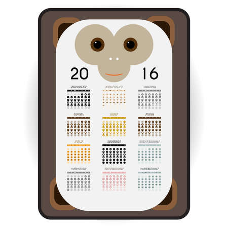 weeks: Happy Monkey 2016 Calendar Illustration. Months, weeks and days for 2016th year. New Year Mascot. Funny Character in Flat Style. Asian zodiac sign. Digital vector graphic.