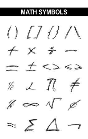 signos matematicos: Los signos incompletos en Vaus Colores. Tinta dibujada tipografía. signo letras cepillo. Caligráficos matemáticos de letras fórmulas. ilustración vectorial digital. Aislado en el fondo blanco.