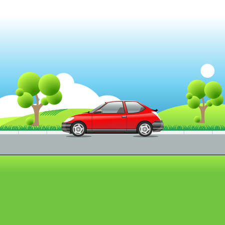 country road: Red car on a country road. Green meadows hills and trees. Blue sky with clouds. Sunny day landscape view. Digital vector illustration.