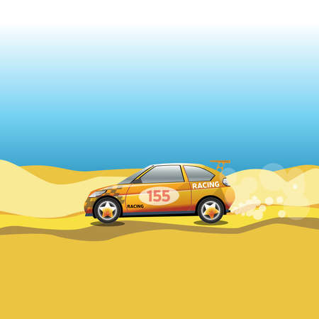 rally: Rally in a desert. Racing car safari trip. Sport car driving on a sandy road. Blue sky and yellow sand. Digital vector illustration.