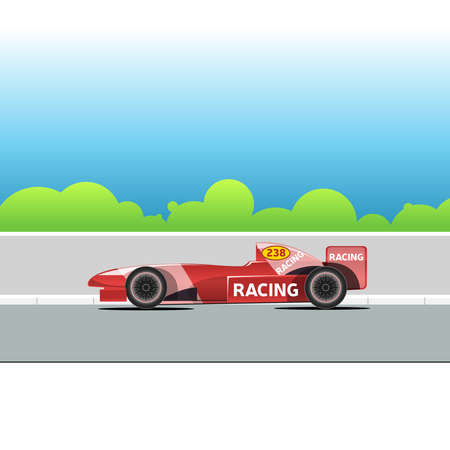 bolide: Racing bolide car on a racing track. Red single-seat auto racing. Racing track with green trees. Digital vector illustration. Illustration