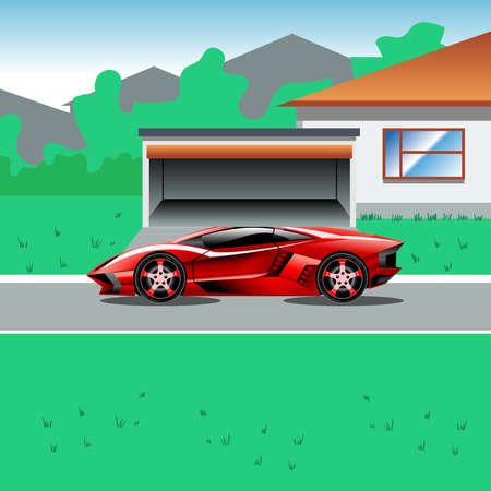 suburban house: Red luxury sport car parked beside a house with a garage. Suburban house landscape view. Advertising campaign illustration for a sport car. Beautiful life flyer. Digital vector illustration. Illustration