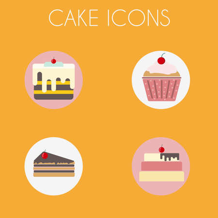 cake slice: Cake Icons Set. Three Cakes and a Cupcake. Sweet bakery with glazing on top. Digital vector illustration.