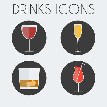 whisky glass: Drinks Cocktail Glasses Round icon Set. Wine Glass, Champagne Glass, Whisky Glass with Ice Cubes and Hurricane Cocktail Glass with Cherry and Straw. Digital background vector illustration.