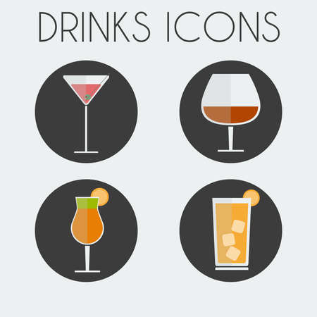 brandy: Drinks Cocktail Glasses Round icon Set. Martini Glass, Brandy Glass, Hurricane Cocktail Glass with Orange Slice and Highball Drink with ice Cubes. Digital background vector illustration.