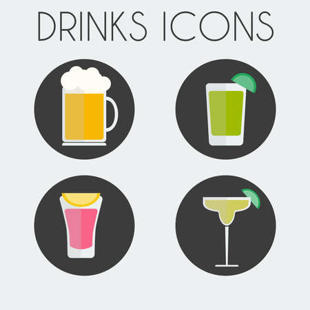 lime slice: Drinks Cocktail Glasses Round icon Set. Beer Mug with Foam, Mojito with Lime Slice, Juice with Lemon Slice and Margarita Cocktail Glass. Digital background vector illustration. Illustration