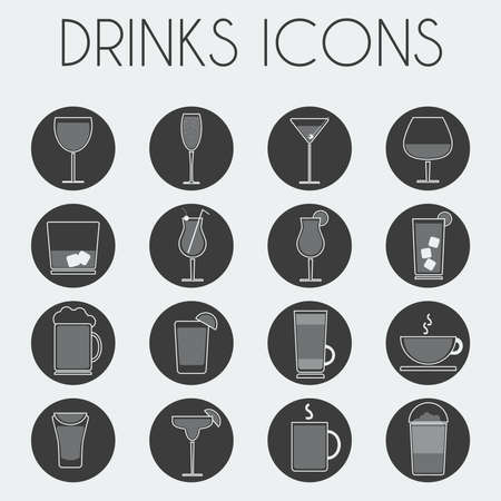 cocktail glasses: Drinks Cocktail Glasses Round icon Set. Alcoholic and Non Alcoholic Drinks Bar Menu Icons. Wine, Champagne, Whiskey, Tea and Coffee. Digital background black and white vector illustration.