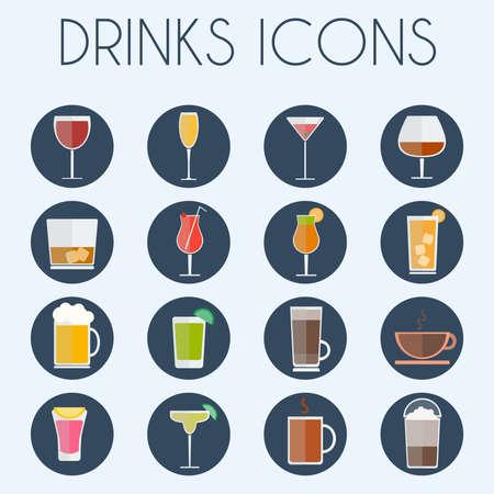 bebidas alcohÓlicas: Bebidas Gafas cóctel conjunto icono de Ronda. Alcohólicas y bebidas sin alcohol iconos de la barra de menú. Vino, champán, whisky, té y café. fondo digital colorida ilustración vectorial.