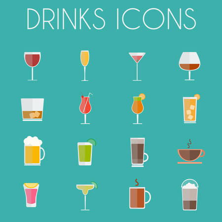 highball: Drinks Cocktail Glasses Round icon Set. Alcoholic and Non Alcoholic Drinks Bar Menu Icons. Wine, Champagne, Whiskey, Tea and Coffee. Digital background colorful vector illustration. Illustration