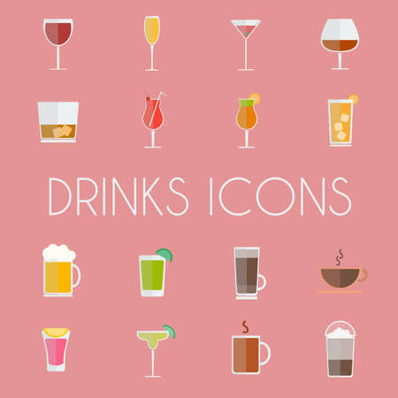 non alcoholic: Drinks Cocktail Glasses Round icon Set. Alcoholic and Non Alcoholic Drinks Bar Menu Icons. Wine, Champagne, Whiskey, Tea and Coffee. Digital background colorful vector illustration. Illustration