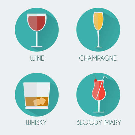 colorful straw: Drinks Cocktail Glasses Round icon Set. Wine Glass, Champagne Glass, Whiskey Glass with Ice Cubes and Bloody Mary with Cherry and Straw. Digital background vector illustration.