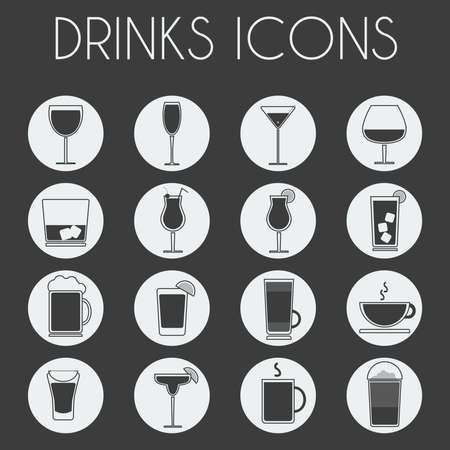 highball: Drinks Cocktail Glasses Round icon Set. Alcoholic and Non Alcoholic Drinks Bar Menu Icons. Wine, Champagne, Whiskey, Tea and Coffee. Digital background black and white vector illustration.