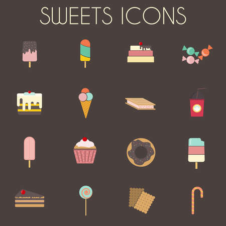 sixteen: Sweets Icons Set. Sixteen tasty icons on dark backdrop. Ice creams on wooden sticks, Slices of Cakes with Cherry on top. Donuts, cupcakes, lollipop and candy cane. Digital vector illustration.