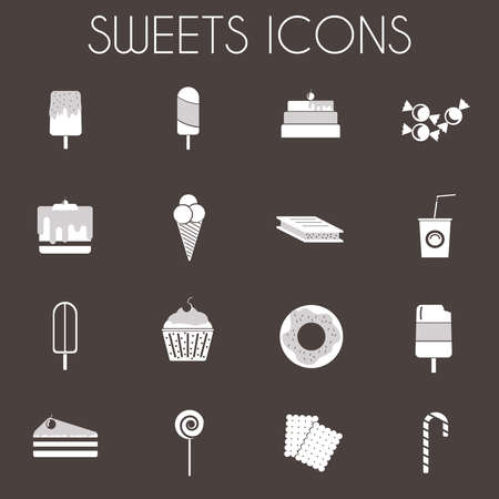 sweet food: Sweets Icons Set. Sixteen tasty icons on dark backdrop. Ice creams on wooden sticks, Slices of Cakes with Cherry on top. Donuts, cupcakes, lollipop and candy cane. Digital vector illustration.