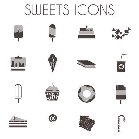 sixteen: Sweets Icons Set. Sixteen tasty icons on white backdrop. Ice creams on wooden sticks, Slices of Cakes with Cherry on top. Donuts, cupcakes, lollipop and candy cane. Digital vector illustration.