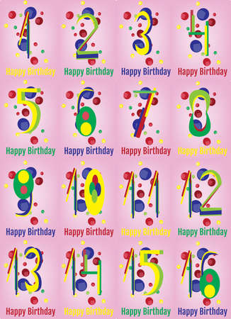 10 to 12 years old: Happy Birthday Card. Happy Birthday Wrapping Paper Digital vector print. Baby Birthday Poster. Teenager Birthday Party Decoration with Colorful Confetti Pink Backdrop. Illustration