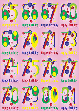 adult birthday: Happy Birthday Card Set. Happy Birthday Wrapping Paper Digital vector print. Adult Birthday Decoration with Colorful Confetti Pink Backdrop.