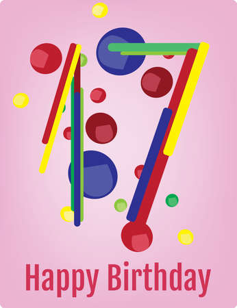 seventeen: Happy Birthday Poster. Happy Birthday Wrapping Paper Digital vector print. Seventeen Years Old. Number Seventeen with Colorful Confetti Pink Backdrop.