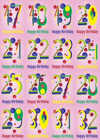 nine years old: Happy Birthday Card Set. Happy Birthday Wrapping Paper Digital vector print. Teenager Birthday Poster. Adult Birthday Decoration with Colorful Confetti Pink Backdrop.