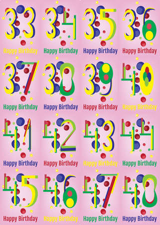 nine years old: Happy Birthday Card Set. Happy Birthday Wrapping Paper Digital vector print. Adult Birthday Decoration with Colorful Confetti Pink Backdrop.