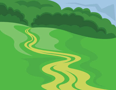 country road: Landscape Summer or Spring View. Country road across the meadow. Green grass, hills and forest in the distance. Digital vector image.