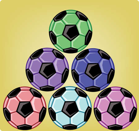 six objects: Six soccer balls one on another forming a triangular shape. Colorful sports objects on yellow background. Sports banner or flyer card. Digital vector illustration.