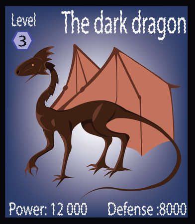 The Dark Dragoon. Mighty Brown Beast. Big Ancient Lizard with Wings. Board game players card. Digital Vector Illustration. Illustration