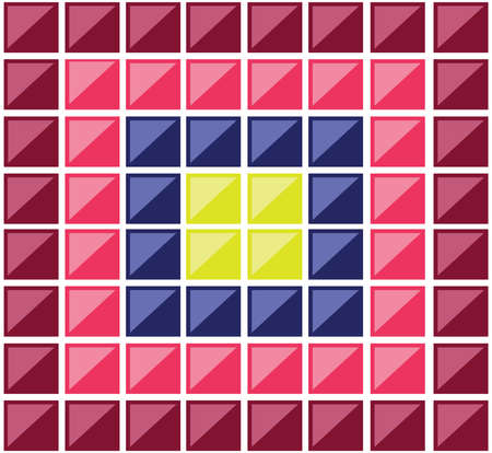 baldosas rectangulares de colores. Múltiples rectángulos que forman un mosaico. cuadrados de colores cruzados por diagonales. Digital de fondo ilustración vectorial. Ilustración de vector