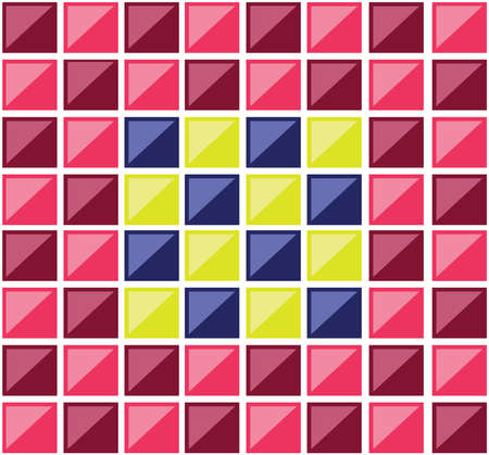 Colorful rectangular tiles. Multiple rectangles forming a mosaic. Colorful squares crossed by diagonals. Digital vector background illustration. Vectores