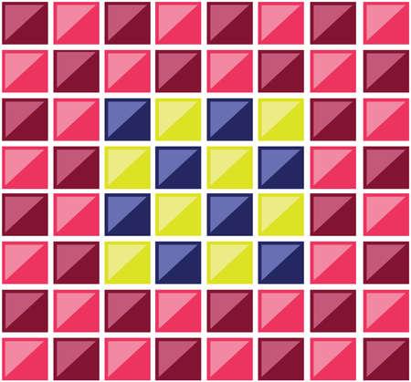 tuiles rectangulaires colorées. Plusieurs rectangles formant une mosaïque. carrés colorés croisés par des diagonales. vecteur de fond numérique illustration. Vecteurs