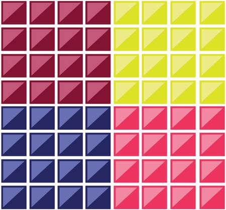 tuiles rectangulaires colorées. Plusieurs rectangles formant une mosaïque. carrés colorés croisés par des diagonales. vecteur de fond numérique illustration.