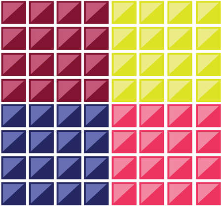 Colorful rectangular tiles. Multiple rectangles forming a mosaic. Colorful squares crossed by diagonals. Digital vector background illustration. Illustration