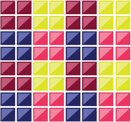 diagonals: Colorful rectangular tiles. Multiple rectangles forming a mosaic. Colorful squares crossed by diagonals. Digital vector background illustration. Illustration