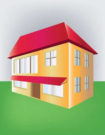 two floors: House with two floors and red roof. Real estate, building for sale. Home in perspective illustration. Digital vector image. Illustration