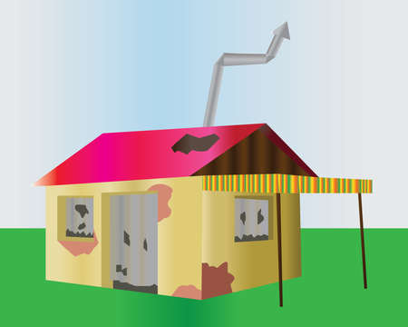broken house: Ruined one floor house. Damaged building illustration. Old home with chimney, red broken roof and no windows. Digital vector background image.