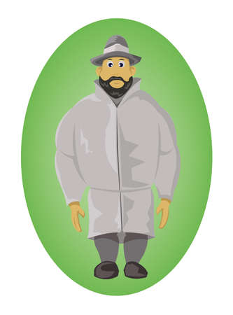 slicker: Man with a hat. Standing posture. Wearing a raincoat. One man isolated on green elliptical background. Digital vector illustration. Illustration